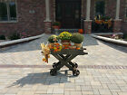 Antique Industrial Factory Iron Wheel Cart Planter Liquor Island Coffee Table #3