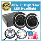 2X 740w LED Headlight High Low Beam Halo Angle Eye Jeep Wrangler JK LJ CJ TJ MS