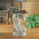 Art Deco Ancient Greek Hero Titan 22 Sculptural Glass Topped End Table New