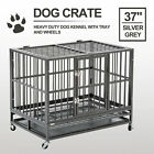 XL 37 Dog Cage Crate Heavy Duty Strong Metal Pet Kennel Playpen w Wheels Tray