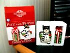 FITZ and FLOYD Frosty's Frolic salt & pepper shakers New OBox red cardinal 2010