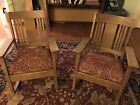 Pair Antique Oak Rockers 1930's Mission Arts Crafts Stickley Rocking Chairs