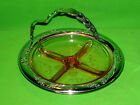 Pink Depression Glass Divide Dish In Silver Plated Tray w Handle