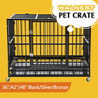 37 42 48 Heavy Duty Rolling Dog Crate Kennel Pet Cage House w Castor