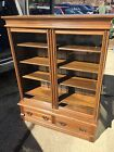 Antique Victorian 1800's Oak Book Case Knapp Joint Drawers Wavey Glass 16d49w62h