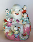 Vintage Chinese Porcelain Happy Buddha With 5 Children Hotei Buddha Famille Rose