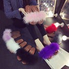 Womens Fur Fluffy Marabou Mules Slip On Sandals Feather Sliders Slippers Size
