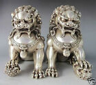 Rare Chinese Silver Bronze Fu Foo Dog Guardian lion Statue Pair #14