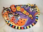 Festive Fitz And Floyd 2002 Kitty Witches Large Boo Bowl Platter-New In Box!!!