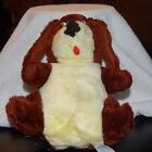 Vintage Plush 1978 Etone Brown Dog with Yellow Stomach Vtg Stuffed Animal