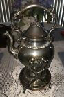 Mid Century Silver On Copper Goldfeder Hinged Top Ornate Coffee Pot W Warmer