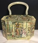 Vintage Decoupage 3D Relief Wood Box Hand Bag/Purse,Bakelite handle, Colonial