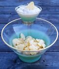 Mid Century WEST VIRGINIA GLASS BLENDO FROSTED TURQUOISE CHIP AND DIP SET