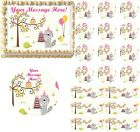 Happy Woodland Animals Girl Edible Cake Topper Image Baby Shower First Birthday
