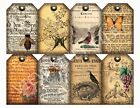 8 Ephemera Primitive Vintage Gift Hang Tags Scrapbooking Paper Crafts 105
