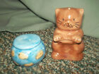 Adorable Vintage Cat And Fish Bowl Salt And Pepper Shakers In Perfect Condition