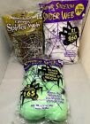 3 bags of stretch spider web assorted colors green brown white Halloween NIP
