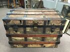 Antique Canvas and Oak Wood Travel Steamer Trunk