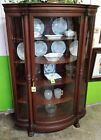 Antique Walnut Curved Glass Corner China Cabinet w Dinning Room Table and Cha
