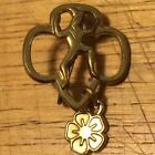 Vintage Brownie Girl Scout Pin With Petal Charm