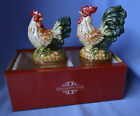 FITZ & FLOYD ROOSTER HEN MEDITERRANEO FRENCH COUNTRY SALT & PEPPER SHAKERS w/box
