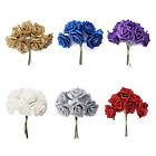 7 Foam Rose Artificial Flower Glitter Bridal Bouquet Home Wedding Decoration T1