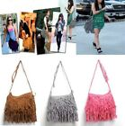 US Tassel Fringe Shoulder Messenger Suede Handbag Cross Body Bag Purse Zip Bags