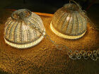 2 Vintage WHITE WICKER HANGING LIGHTS Swag Lamp Mid Century Ceiling Lights