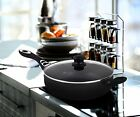 Nonstick 11 Inch Jumbo Cooker Deep Fry Saute Pan Frying Skillet with Glass Lid