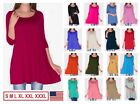 NEW Womens 3 4 Sleeve Tunic Top Dress Round Neck Blouse USA S M L XL Plus 2X 3X