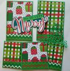 Christmas Title Mat Set Sewn Handmade Paper Piecing Scrapbook Page Premade