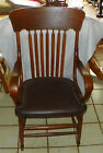 Oak and Elm Steam Bentwood Armchair / Desk Chair with Brown Leather   (AC148)