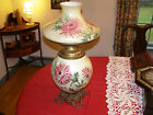 B  H Banquet Parlor Antique Oil Lamp Hand Painted Glass Shade