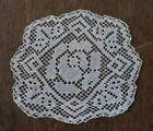 Vintage Ecru Filet Lace Doily Coaster Set of 6 Embroidered Flowers Lacis Rounds