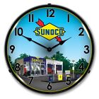 SUNOCO GAS STATION 2 BACKLIT LED LIGHTED WALL CLOCK RETRO MAN CAVE GARAGE - NEW