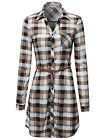 FashionOutfit Women Contemporary Roll-Up Sleeve Plaid Check Belt Shirt Dress