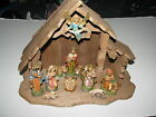 Christmas Holy Nativity Scene w 11 Figures Wood Wooden Stable Set Made in Italy