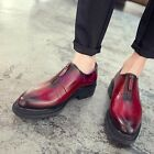Chic New Mens Front Zipper Platform Pointy Toe Brogue Dress Vintage Formal Shoes