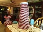 Pre Fenton Cranberry Pink Reverse Optic Swirl Pitcher Tankard Style Very Rare