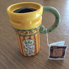 JOYCE SHELTON CERAMIC COFFEE TALKS TRAVEL MUG