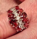 Sterling Silver Filled Pear Cut Fire Garnet  White Topaz Gemstone Ring 7