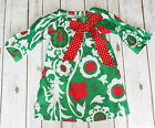 Toddler  Girls Christmas Holiday Red Green FLORAL Boutique Ruffle Peasant Dress