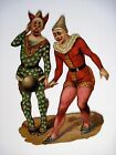 Vintage 1800s Die Cut Of Clowns In Vintage Costumes  Balancing a Ball
