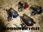 ANY! BICYCLE REAR DUMMY LIGHT BULLET W/WINGS BLUE RED CHROME CRUISER CHOPPER!
