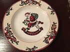 Four (4) Fitz and Floyd Christmas Santa's List 1994 Salad Plates 7 3/4
