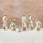 Roman 6pc Set 728HOLY FAMILY Jesus Nativity Ivory  Gold Flowers Figures 30730