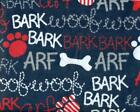 1 2 Yard Snuggle FLANNEL Red White Gray Dog ARF WOOF Words on Navy Blue BTHY