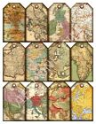 12 Vintage Antique Maps Hang Tags Scrapbooking Paper Crafts (171)