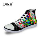 Cool Animal Leopard Tiger Men Canvas Shoes High Top Casual Sneaker Lace Up Flat