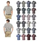 FashionOutfit Mens Western Casual Button Down Plaid Check Short Sleeve Shirt